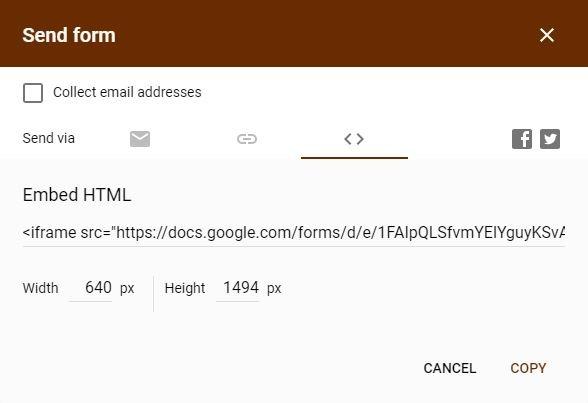 Google Forms Registration Form Embed Code