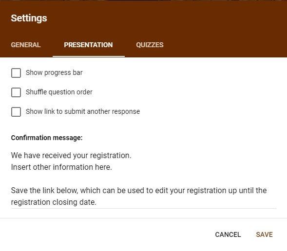 Google Forms Registration Presentation Settings