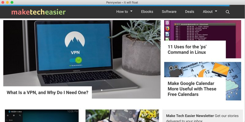 Open Websites Floating Window Pennywise Featured Hidden Navbar
