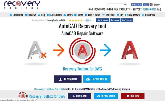 Recovery Toolbox Dwg Download Main Screen