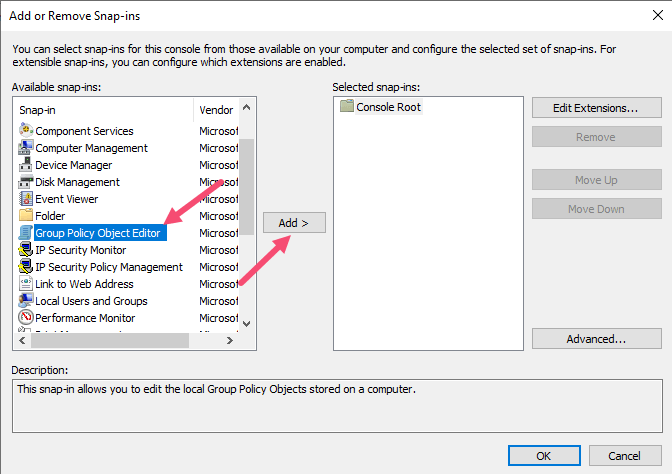 Windows Non Admin Group Policy Select Local Group Policy Object Option