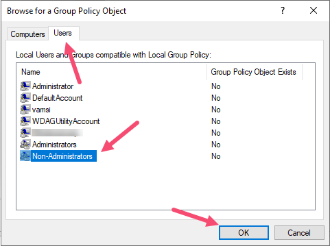 Windows Non Admin Group Policy Select Non Admins
