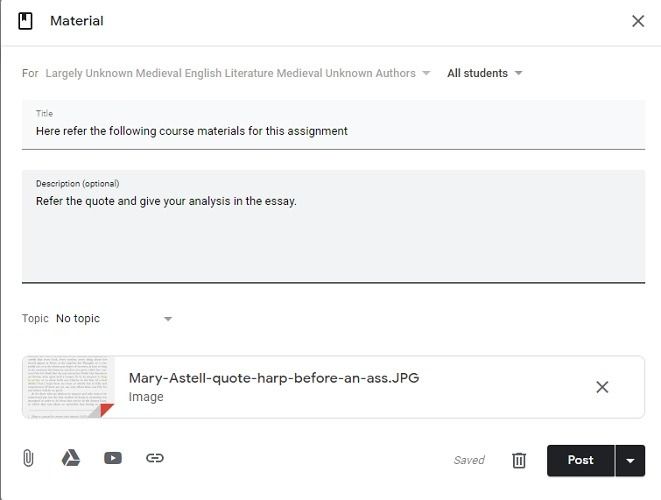 Add Reference Material Google Classroom