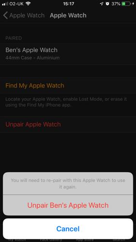 Apple Watch Unpair Confirm Unpair