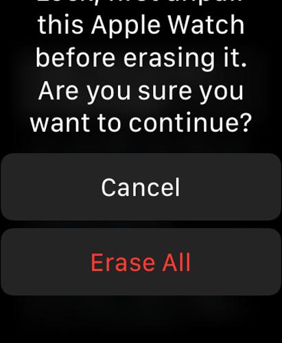 Apple Watch Unpair Erase All