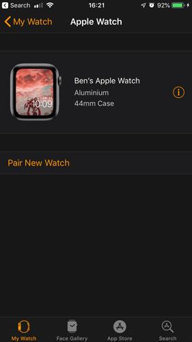 Apple Watch Unpair Tap Info Button