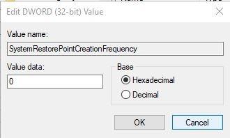 Auto Restore Point Windows Dword Value Set