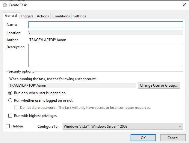 Auto Restore Point Windows Create Task Window