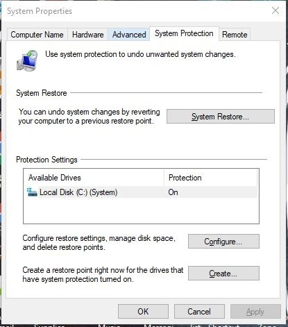 Auto Restore Point Windows System Restore Settings