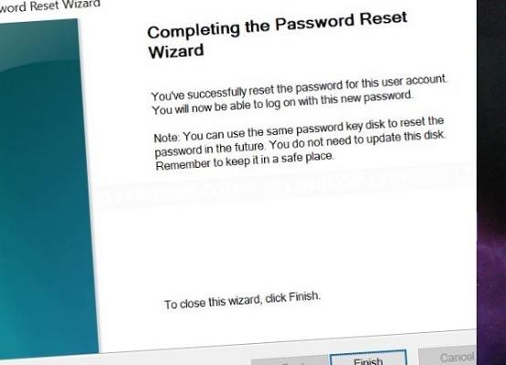 Completing Password Reset Wizard