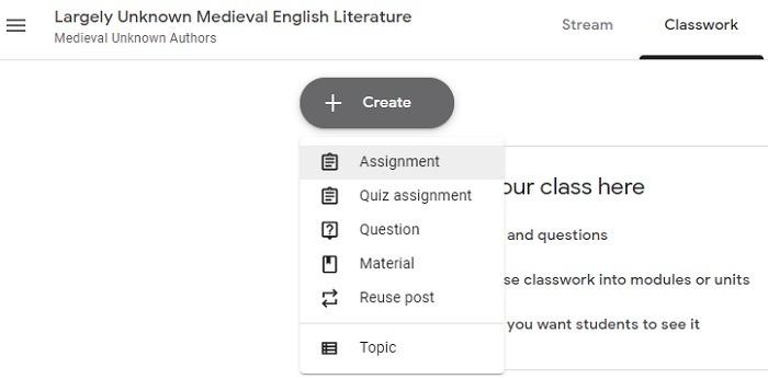 Create Classwork Assignment