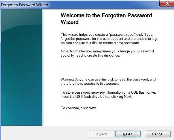 Forgotten Password Wizard Screen