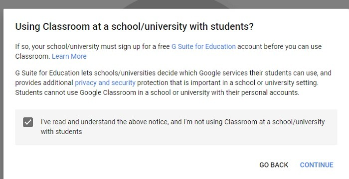 Google Classroom Create Class Disclaimer