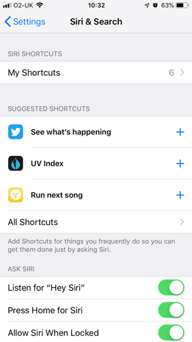 Iphone Siri Shortcut Three Suggested Shortcuts
