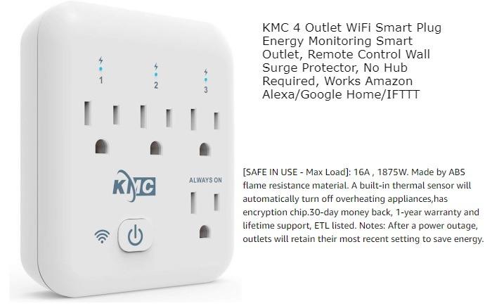 Kmc Four Outlets Wifi Smart Plug
