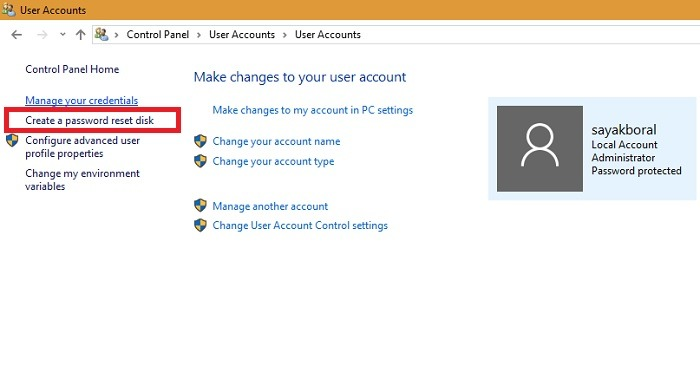Password Reset Disk From User Accounts