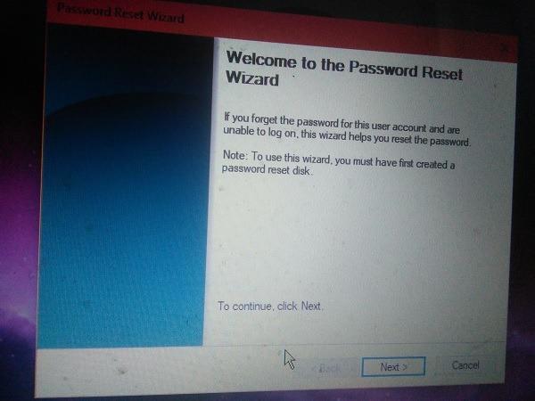 Password Reset Disk Welcome Screen Login