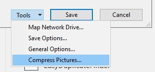 Reduce Size Powerpoint Compress All Images Dropdown Menu
