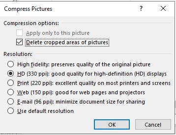 Reduce Size Powerpoint Compress All Images Options