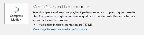 Reduce Size Powerpoint Compress Media Files Option