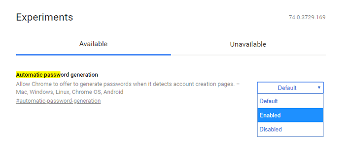 Best Chrome Flags Automatic Password Generation
