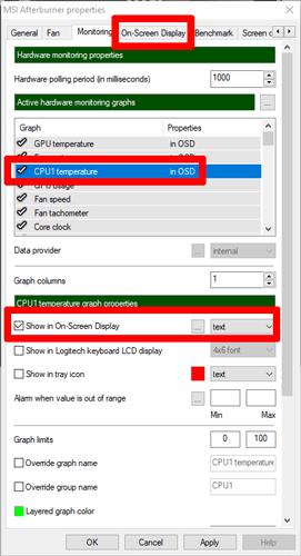 تحقق من درجة حرارة وحدة المعالجة المركزية للكمبيوتر المحمول Msi Afterburner