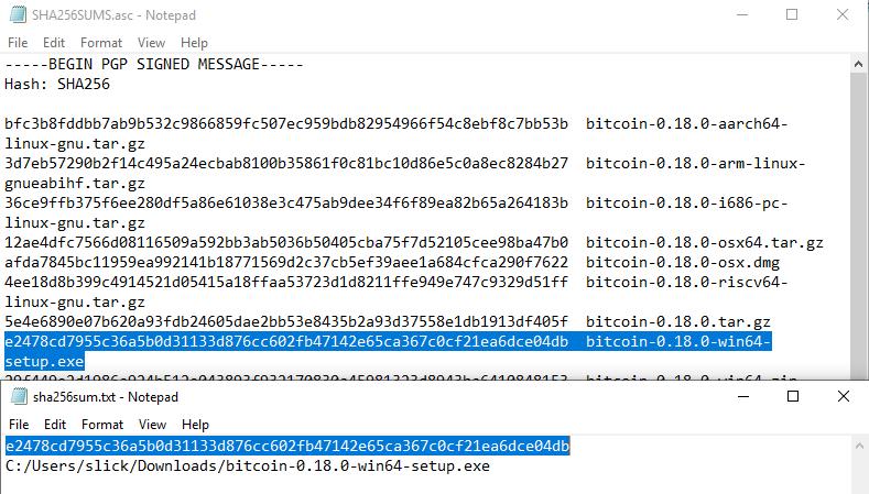 Check Software Signatures Compare Sha256 Checksums