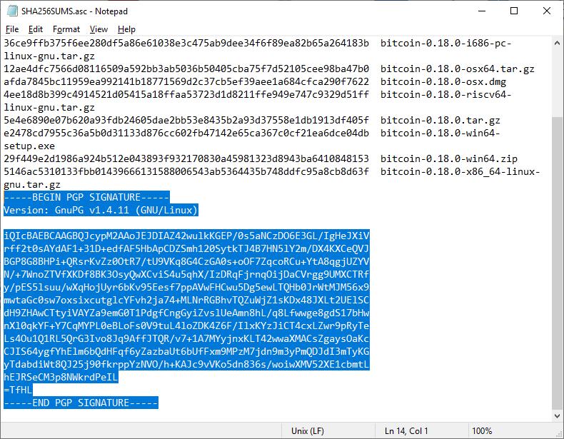 Check Software Signatures Inline Signature Example