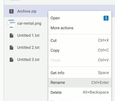Chromeos Rename Zip Files