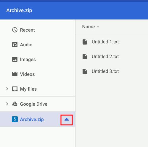 Chromeos Unmount Zip Files