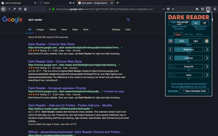 Dark Reader Addon For Firefox