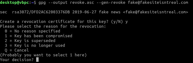 Gpg Linux Key Revocation Reason