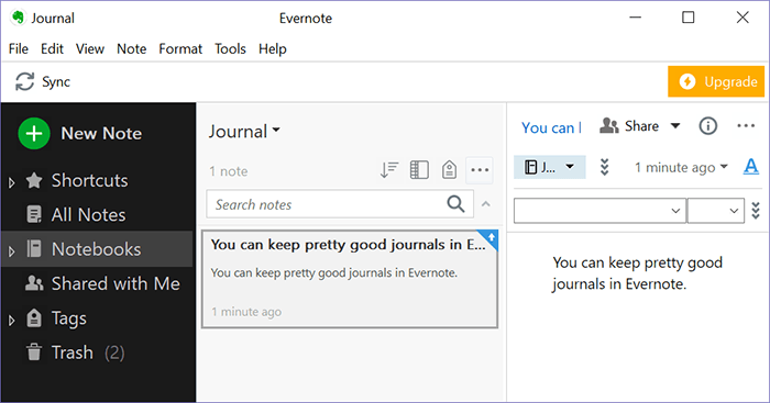 Journaling Apps Windows Evernote