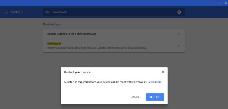 Powerwash Chromebook Confirm Powerwash