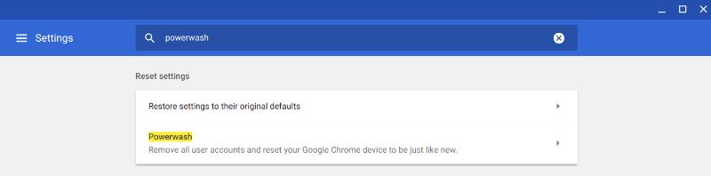 Powerwash Chromebook Powerwash
