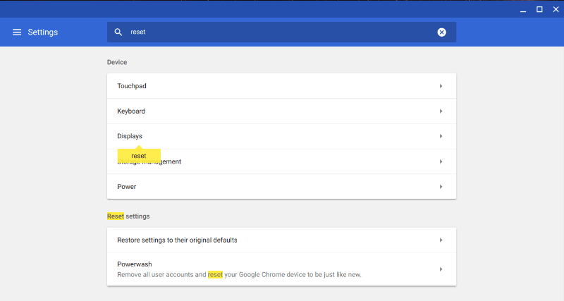 Powerwash Chromebook Reset