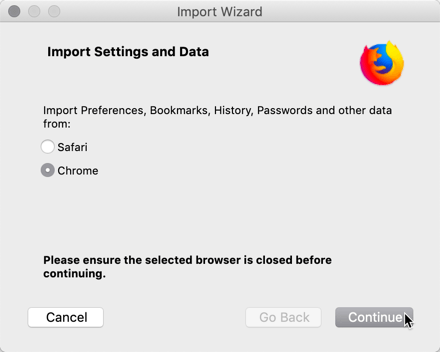 Switching Chrome To Firefox Import Data Browser Selection