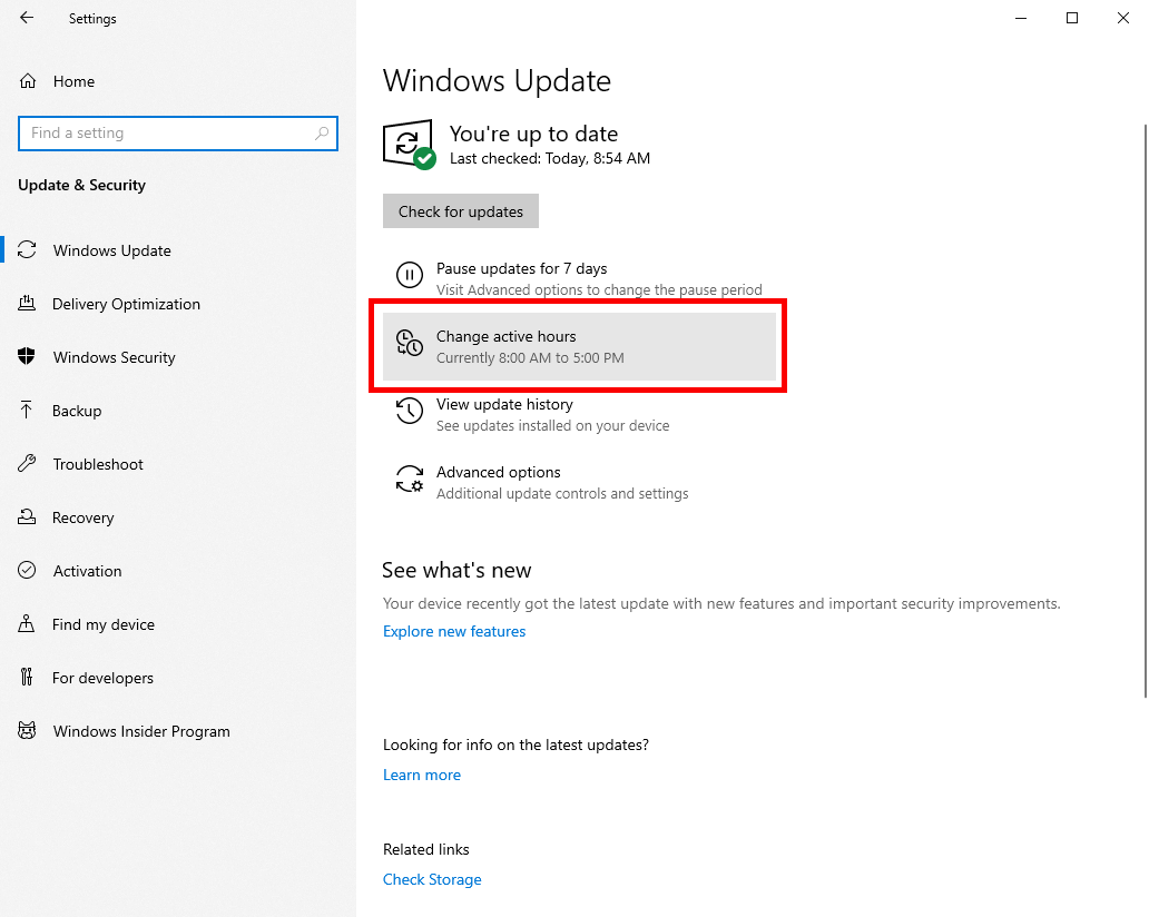 Win10 Options To Manage Click Change Active Hours