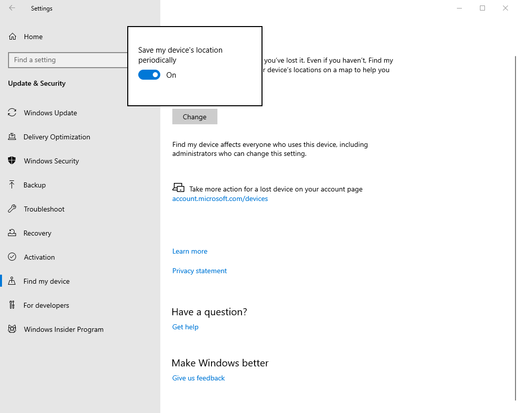 Win10 Options To Manage Enable Find My Device