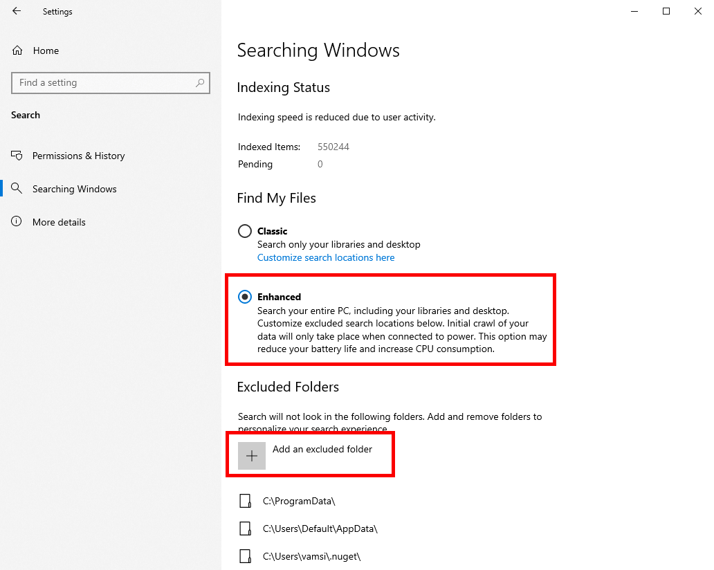 Win10 Options To Manage Enhanced Mode
