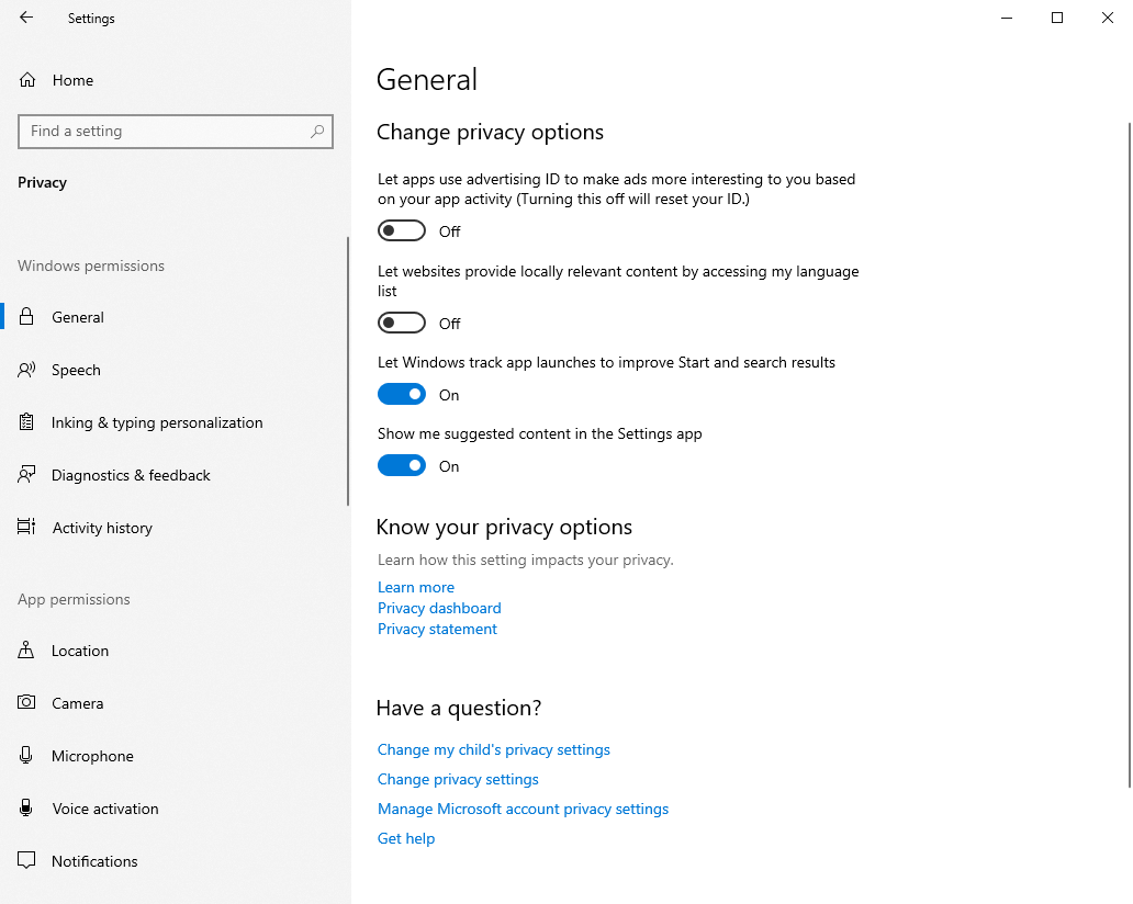 Win10 Options To Manage Privacy Options