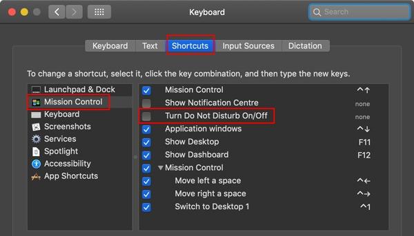 Do Not Disturb Shortcut Settings