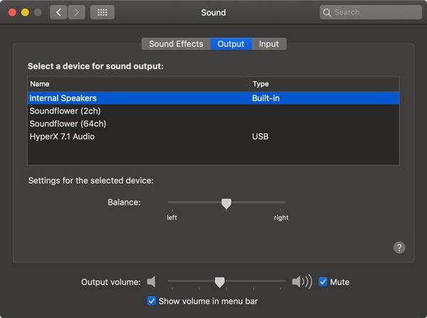 Soundflower Mac Internal Speakers