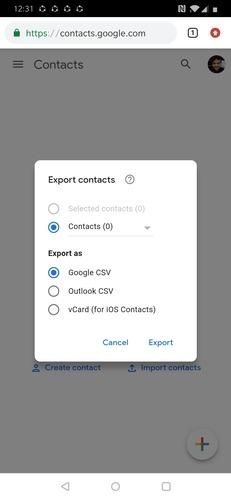 Google Export Contacts