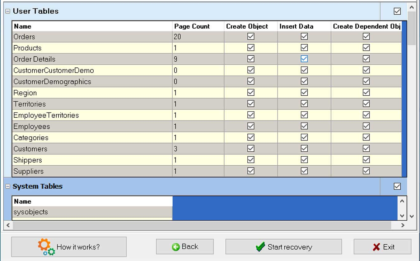 Recovery Toolbox For Sql Review Choose Data To Recover