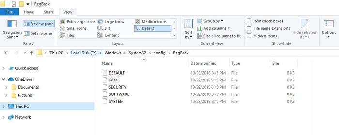 Restore Registry Backup Windows 10 Regback Folder