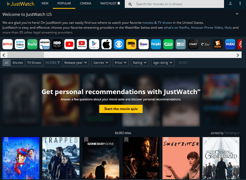 Streaming Services Tools Justwatch Frontpage