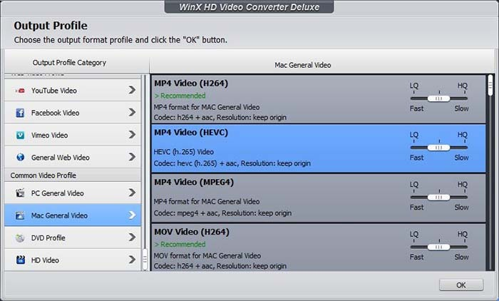 Winx Video Converter Choose Output