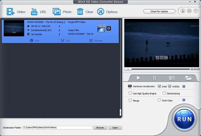 Winx Video Converter Main