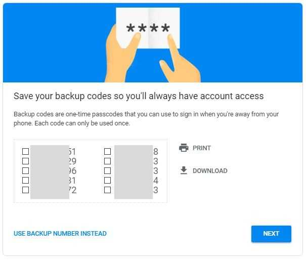 Android Security Key Backup Passcodes
